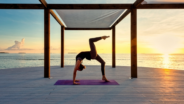 Yoga at sunrise and sunset
